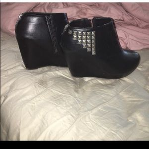 Studded wedge booties